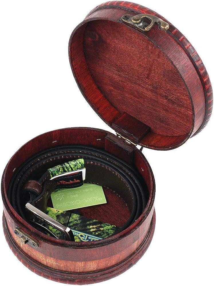Renato Balestra CINTURA da UOMO in PELLE marrone CONFEZIONE REGALO scatola di legno Cinta di Cuoio