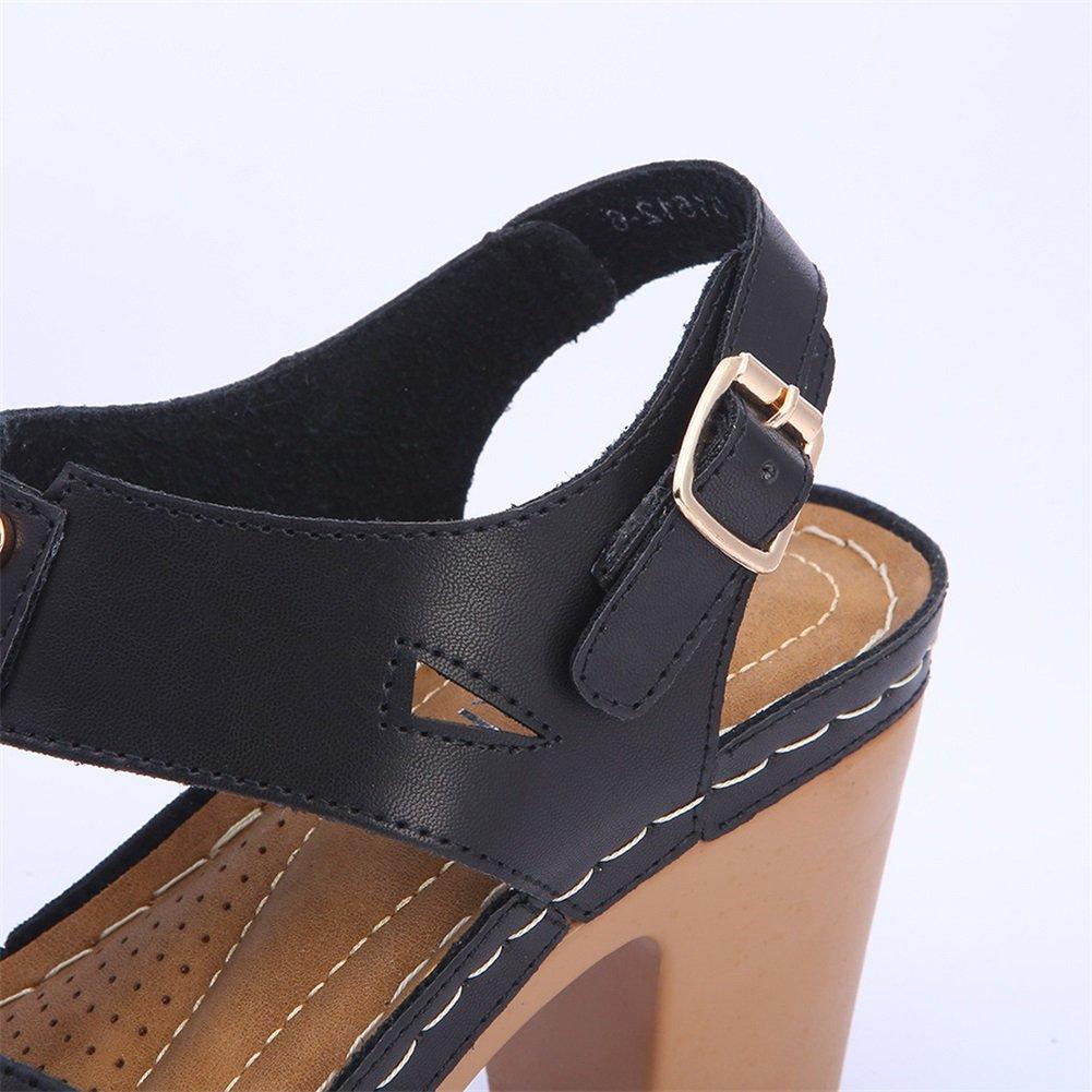 Exing Damenschuhe Neue Sommer Herbst High Heels Platz Ferse Ferse Ferse beiläufige Wasserdichte Plattform Sandalen Gürtelschnalle Damen Schuhe Ein 1c66b4