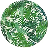 Talking Tables Fancy Frond Tropical Fiesta Party Plates, 12 count, 9 inch Green Disposable Plates for a BBQ, Luau, or Summer Party