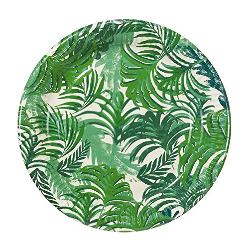 Talking Tables Fancy Frond Tropical Fiesta Party Plates, 12 count,  9 inch Green Paper Plates for a BBQ, Luau, or Summer Party