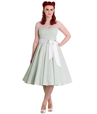 Hell Bunny 50s Maisy Gingham Prom Dress Mint - UK 20-22 ...