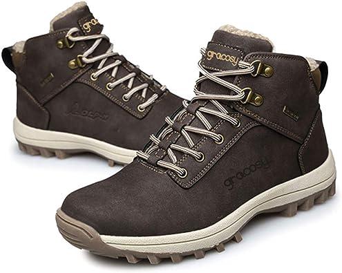 Gracosy Chaussures de Randonnée Hiver Hommes, Bottes de Neige Bottines Fourrees en Nubuck Imperméable avec Fourrure Chaude Boots Baskets Fourrées pour