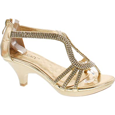 794fa889b972c Amazon.com | Delicacy Angel 36 Women Dress Sandal Rhinestone Low Heel Pumps  | Heeled Sandals