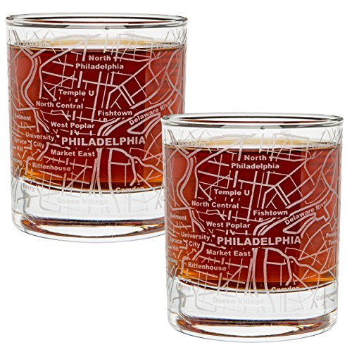 (Greenline Goods Whiskey Glasses - 10 Oz Tumbler Gift Set for Philadelphia lovers, Etched with Philadelphia Map | Old Fashioned Rocks Glass - Set of 2)
