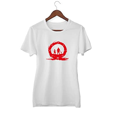 KLIMASALES God of War Hero Warriors Red Circle_KK016941 Shirt T-Shirt Tshirt para Mujeres - White: Ropa y accesorios