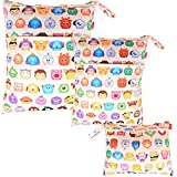 Damero 3pcs Pack Wet Dry Bag for Cloth Diapers Daycare Organizer Bag, Cartoon Animals