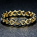 F&F Ring Sterling Silver Linked Love Openwork Heart Stackable Jewelry for Women Wedding Rings