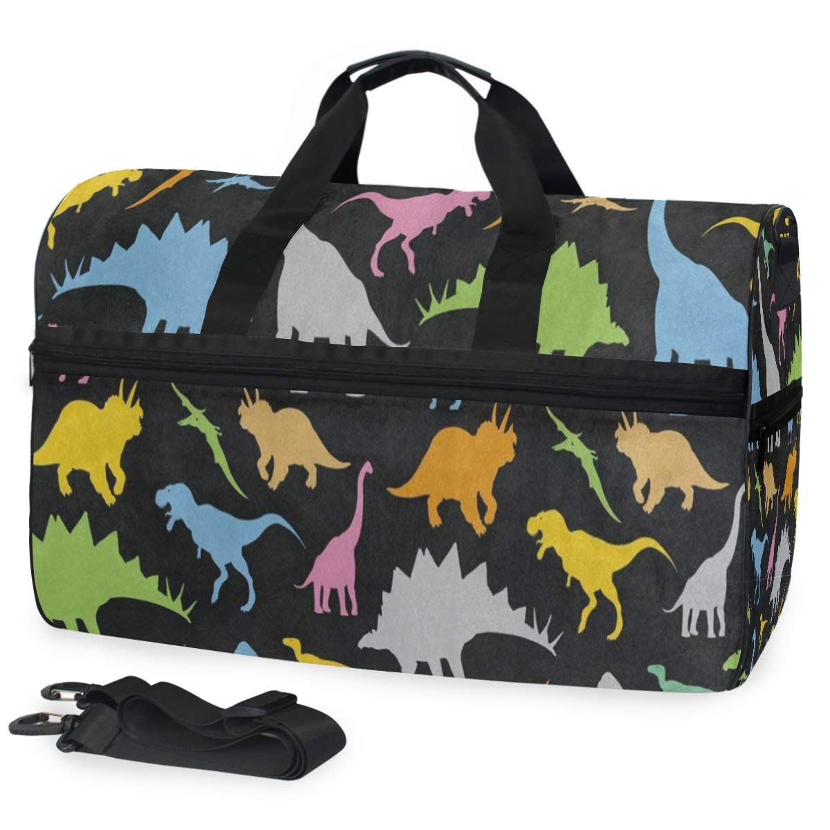 Colorful Dinosaur Black Large Canvas shoulder bag with Shoe Compartment Travel Tote Luggage Weekender Duffle Bag