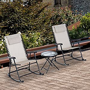 Outsunny 3 Piece Outdoor Rocking Chair Patio Table Seating Set Folding - Cream White