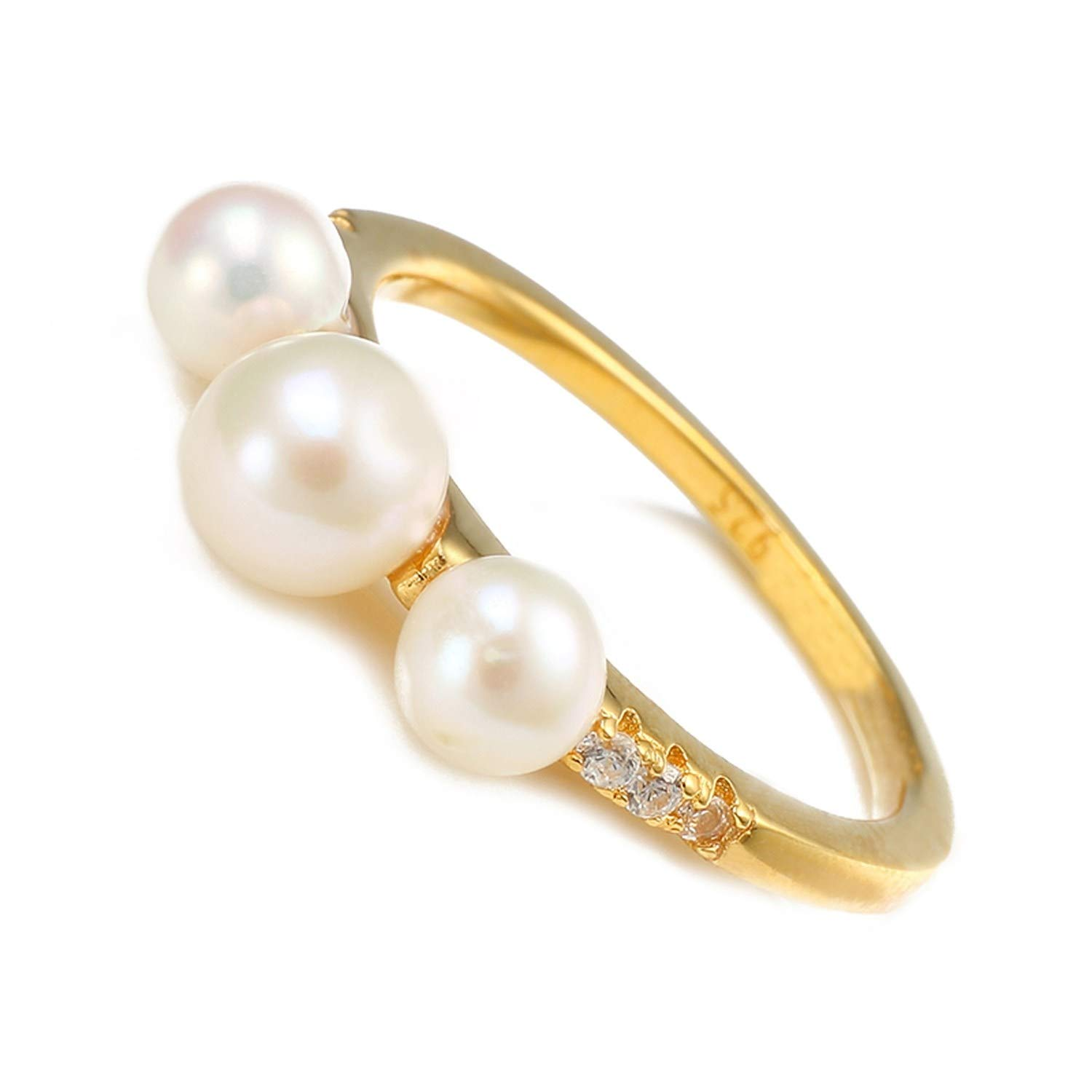 salmoph cadia 100/% 925 Sterling Silver Rings Women Fresh Water Pearl Ring Cubic Zirconia Jewelry Gold Color,5,White,Gold