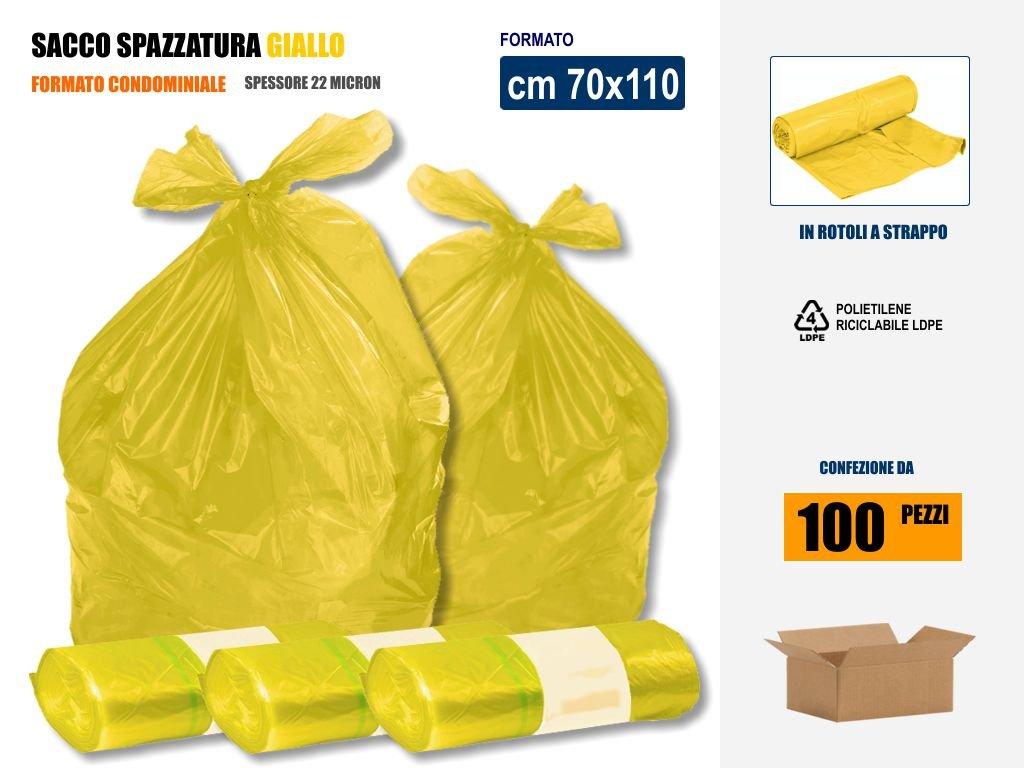 SACCHI SPAZZATURA GIALLI IN PLASTICA PE-LD Cm 70x110 (110 litri) - SCATOLA DA 100 SACCHETTI Imbalshopper Srls