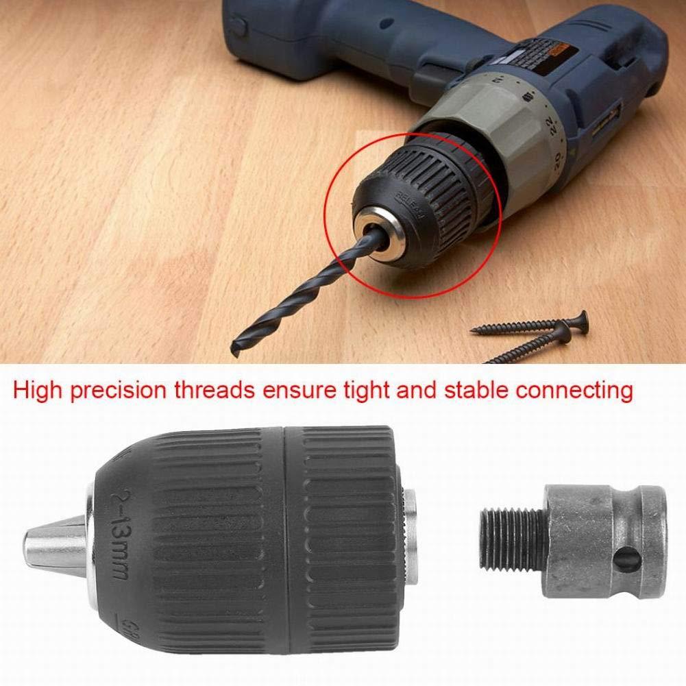 Mioloe Portabrocas de 1//2-20unf Portabrocas sin llave de 2-13 mm de capacidad con 1//2 adaptador para herramienta de conversi/ón de llave de impacto
