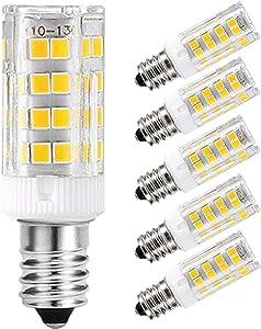 5pcs E14 LED Light Bulbs 5W Equivalent 40W Incandescent Bulb, E14 European Base Bulb, Dimmable, White 6000K, 400LM