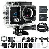 Sport Action Camera 4K Ultra HD 30fps Wifi Waterproof Cam DV Camcorder SONY Sensor 16MP 170 Degree Wide Angle 2 inch LCD Screen (Black+2 pack Battery)