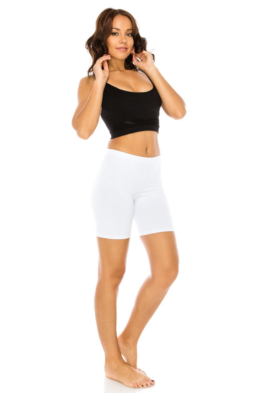 C&C Style Women's Stretch Jersey Bike Yoga Running Workout Bermuda Shorts Tights Pants Under Short Leggings S to 3XL Plus (Medium, White)