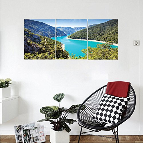 Liguo88 Custom canvas Mountain Lake House Decor The Piva Canyon with Its Reservoir Montenegro Balkans Sunlights Mountain River Picture Bedroom Living Room Wall Hanging Teal Blue (Canyon Rim 3 Light)