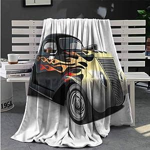 Luoiaax Vintage Fuzzy Blankets King Size Retro 40s Drag Car Queen Size Blanket Soft Warm W70 x L93 Inch