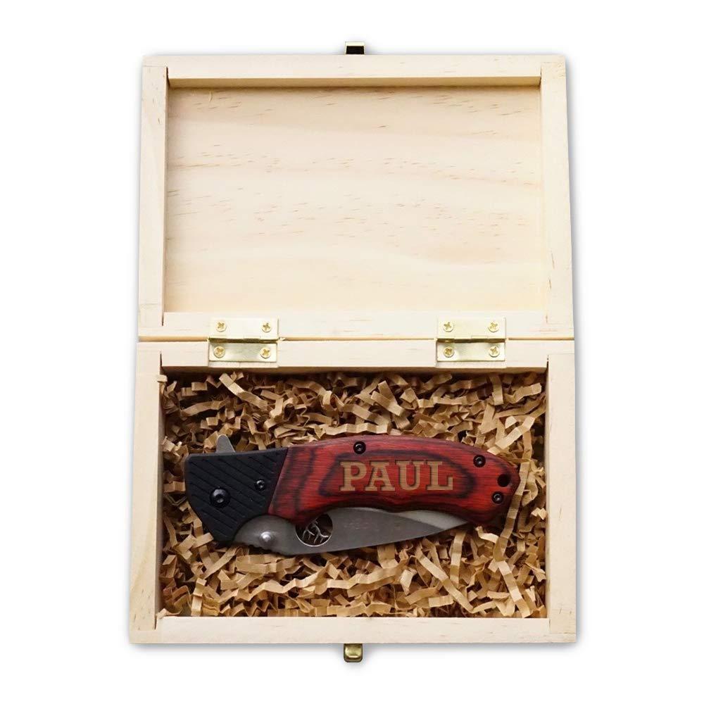 Personalized Pocket Knife - Laser Engraved Knife - Groomsmen Knife- Burlwood Hunting Knife Ideas for Men