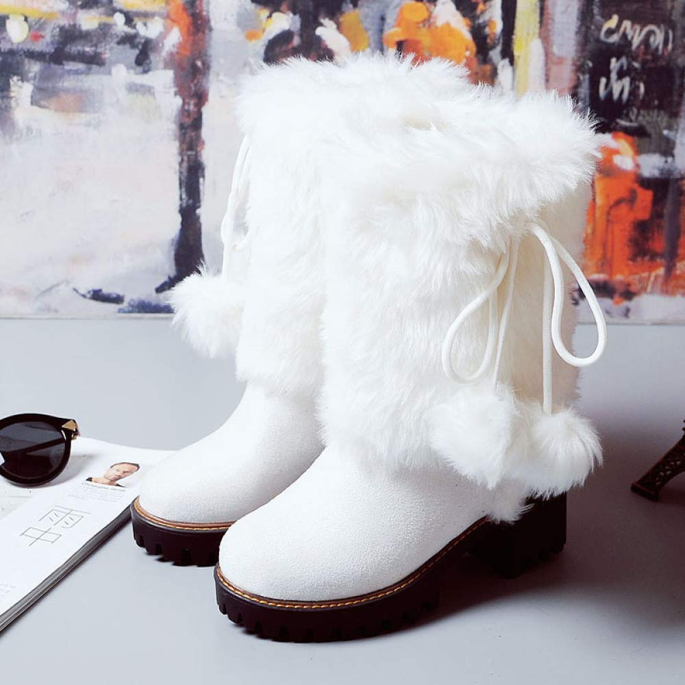QINGMM Frauen Plüsch Schnee Stiefel 2018 2018 2018 Herbst Winter Plattform High Heel Wildleder Baumwolle Stiefel Große Größe Weiß 37 EU cd5db5