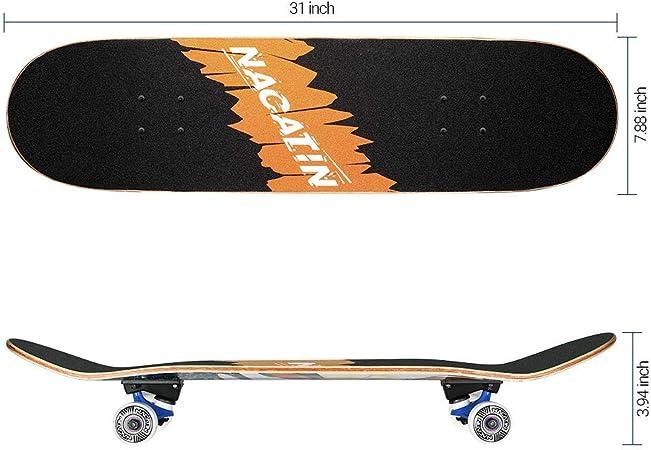 Jeunes et Adultes avec des roulements /à Billes ABEC-11 Roue de Flash,92A Anti-d/érapant Lisse,muet funboard de Roue pour Les d/ébutants CLYCTIP Planche /à roulettes Skateboard pour Les Enfants