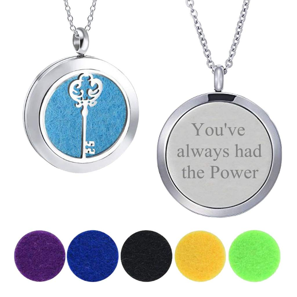 Modogirl Aromatherapy Essential Oil Diffuser Locket Luck Key Necklace Youve Always had The Power