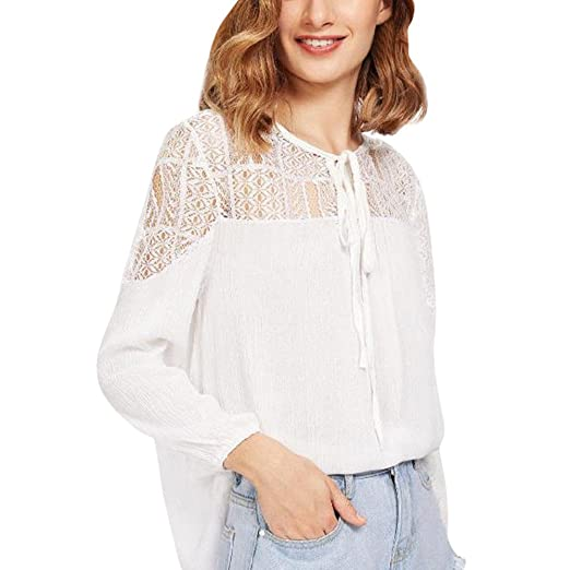 d78d9b9c52d Kangma Women Plus Size V-Neck Lace Solid Loose Long Sleeve Tee Shirt Tops  Blouse