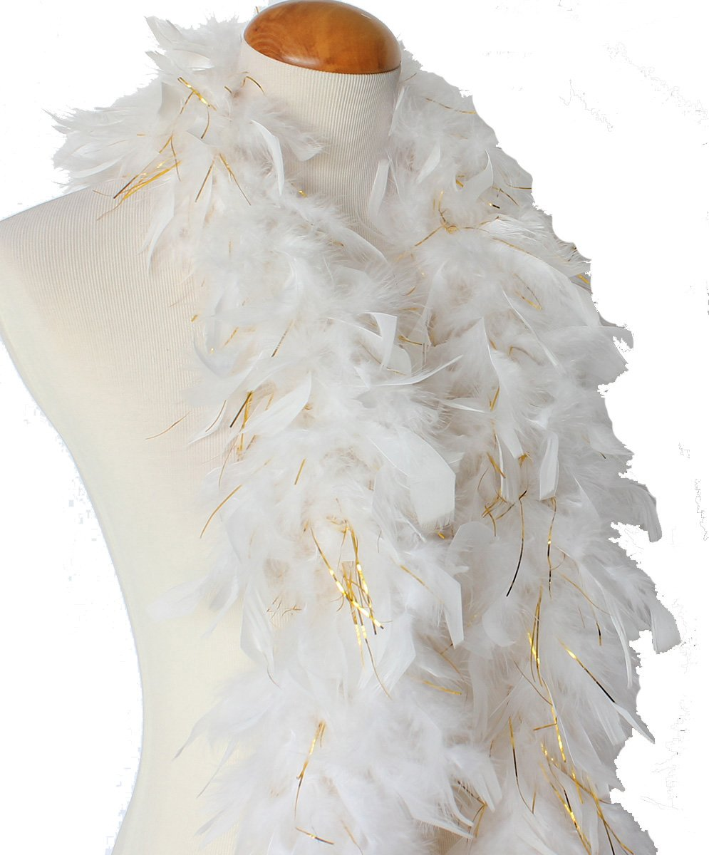45 grams Chandelle Feather Boas, Over 40 Colors & Patterns to Pick Up (White with Gold Tinsel)