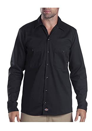 Dickies Mens Long Sleeve Industrial Cotton Work Shirt Dark Navy L Regular