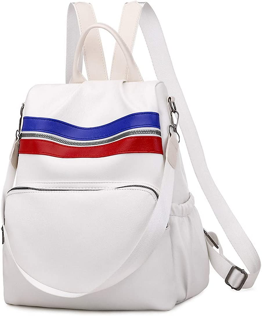 GuaziV Backpack Purse for Women Nylon Anti-theft Waterproof Fashion Bag Lightweight School Shoulder Bags (White 5)