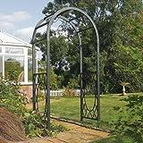 Bosmere ARCHWRRT Rowlinson Wrenbury Round Top Steel Arch with Powder-Coated Frame, Gunmetal Grey