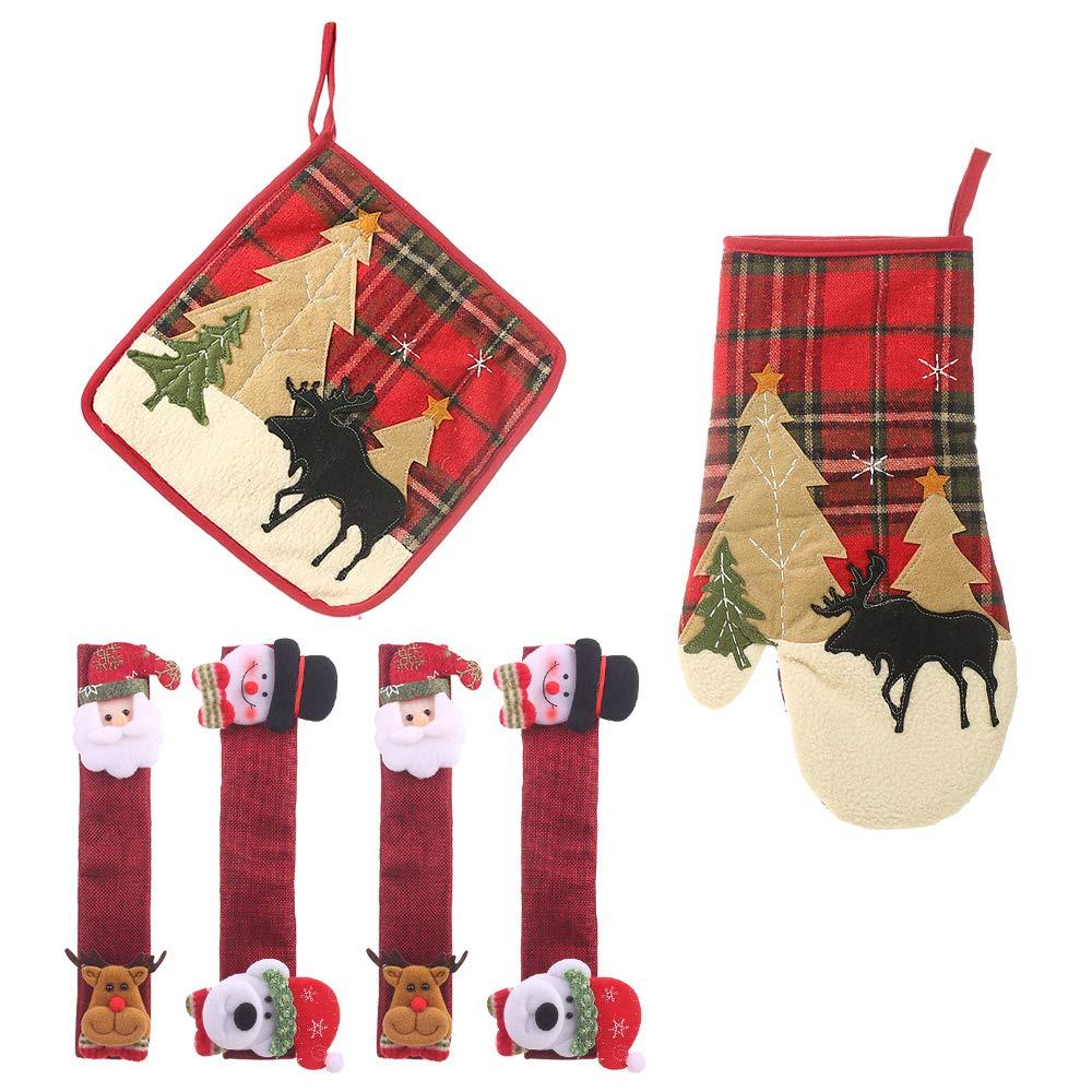 LUCKYSTAR Christmas Decorations Set- 6 Piece Red Kitchen Linen Set Includes Refrigerator Door Handle Covers Pot Holders Oven Mitt