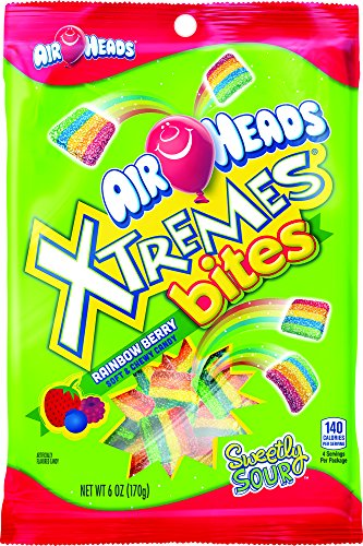 Airheads Xtremes Bites Rainbow Berry Peg Bag, 6 Ounce (Pack of 12)