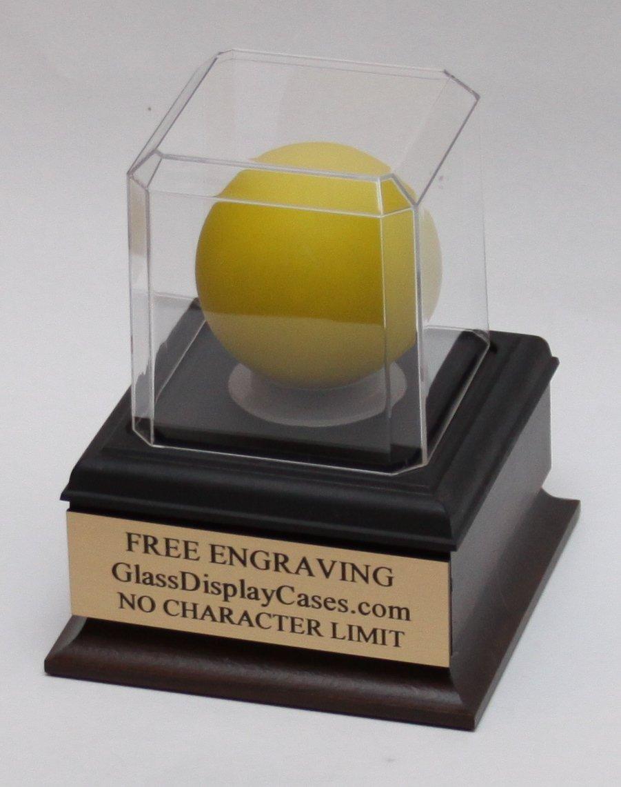 Lacrosse Ball Personalized Acrylic Display Case with Beveled Edges, Cherry Finish Wood Platform Base and Custom Stand