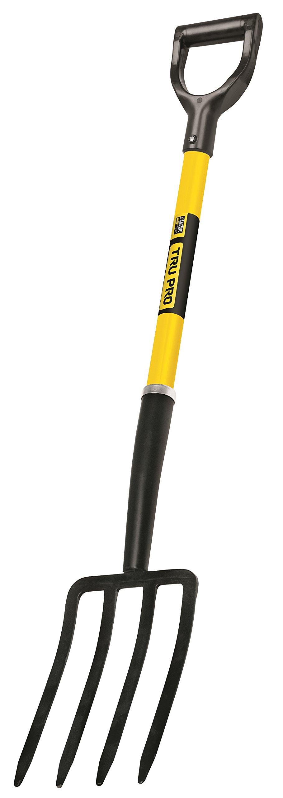 Truper 30299 Tru Pro Spading Fork, 4-Tine, Fiberglass D-Handle, 30-Inch