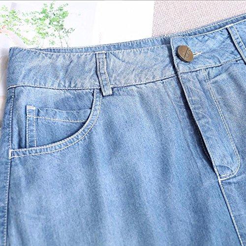Taille Jeans Jupe Femmes La Haute Longue Blue sous Jupe Longue Jupe QPSSP Jupe Moiti Taille La Robe Les des La q57wW0WAI