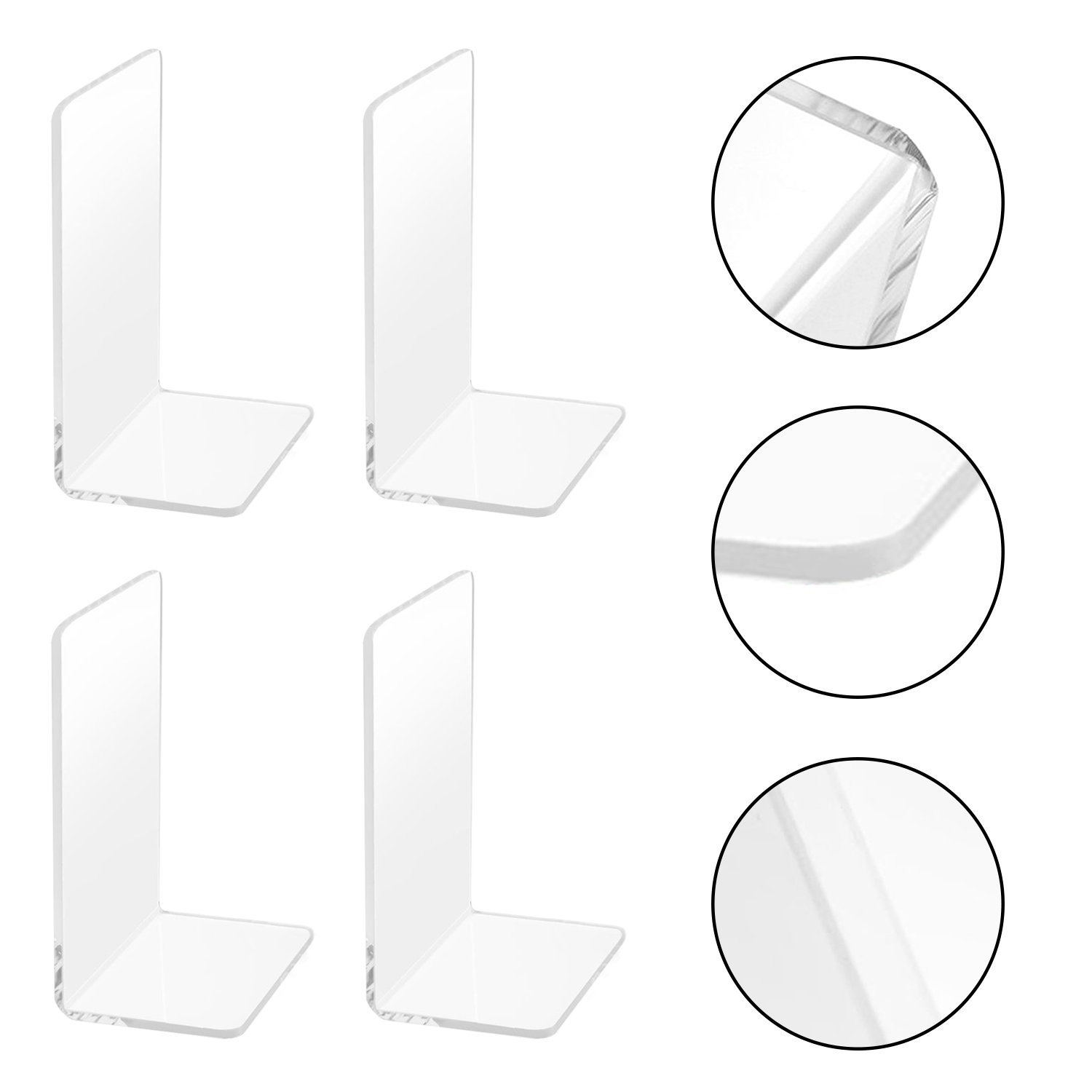 2 Pairs/4 Pieces Plastic Acrylic Bookends With Round Corner, Non-Slip Clear Bookends for Books, Movies, DVDs, Magazines, Perfect for Bedroom Bookshelf Library School Office, Transparent, 7.3 x4.8 inch