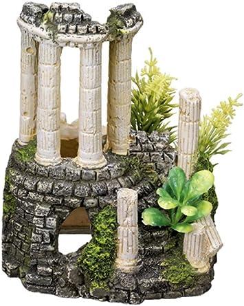 11.2 x 10 x 14 cm Nobby Antique Column with Plants Aquarium Ornaments