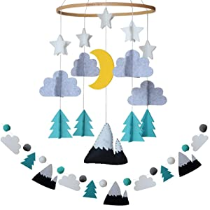 Baby Crib Mobile by Sorrel + Fern- Starry Woodland Night Nursery Decoration   Crib Mobile for Boys and Girls (Mint)