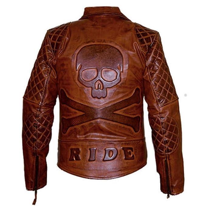Leatherly Diamante clásicos moteros estilo moto cuero chaqueta marrón oscuro, con cráneo logotipo en relieve en la parte posterior: Amazon.es: Ropa y ...