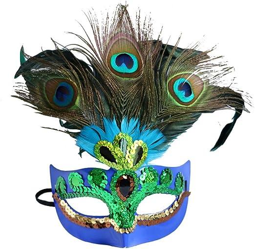 HEHE Máscaras De Disfraces con Plumas De Pavo Real Disfraz De ...