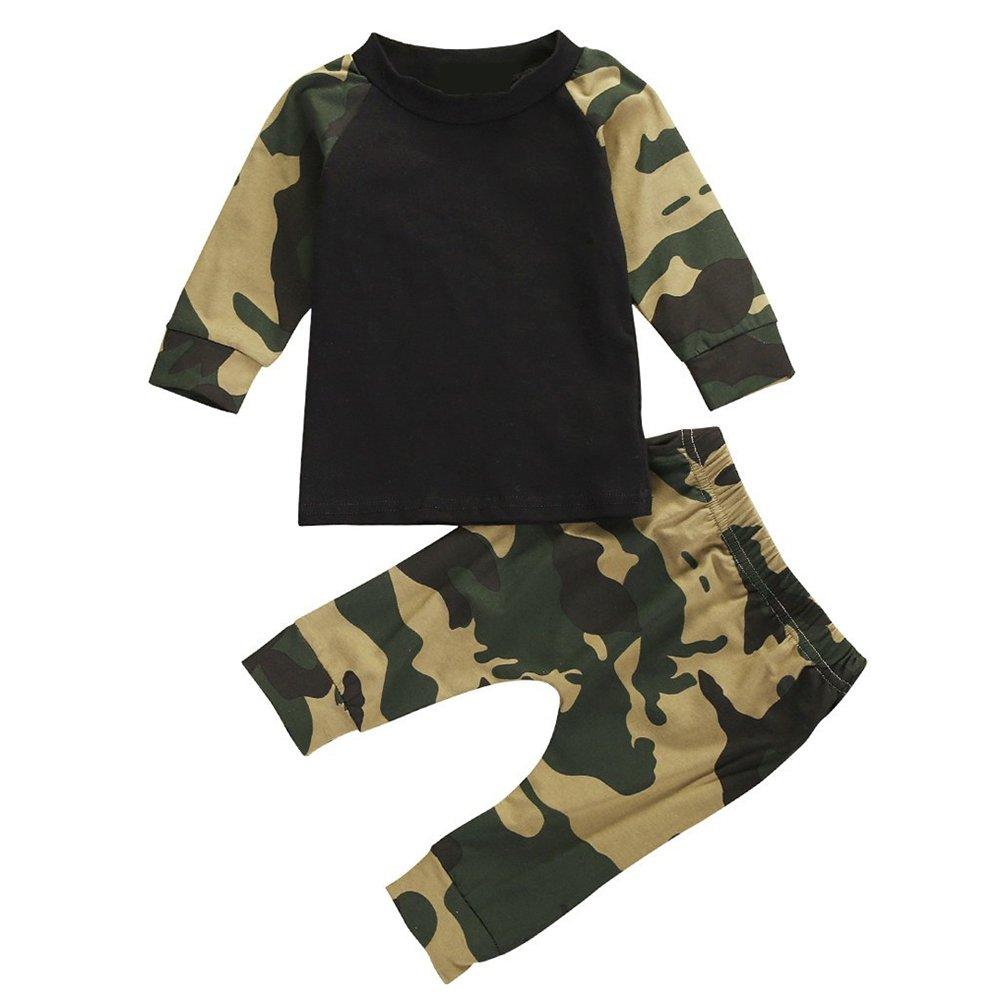 Baby Boys Camouflage Print Long Sleeve T-Shirt Tops Pants 2Pcs Set Clothing