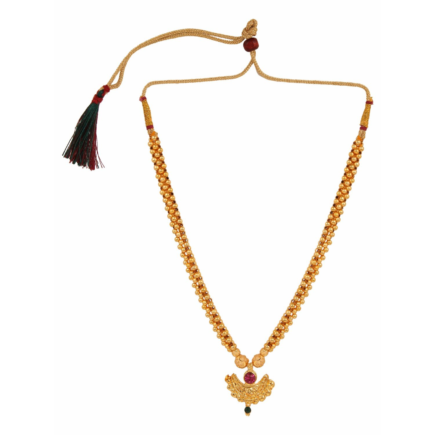 Efulgenz Indian Bollywood Traditional White Red Rhinestone Faux Ruby Pearl Designer Thusi Style Necklace in Antique 18K Gold Tone for Women and Girls (Style 3)