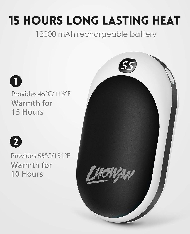 para Mujeres Hombres LUOWAN Calentadores de Manos USB Recargables 12000mAh Mini Cargador ,15 Horas de Larga duraci/ón port/átil Bolsillo,Calentador de Mano El/éctrico de Reutilizable Camping
