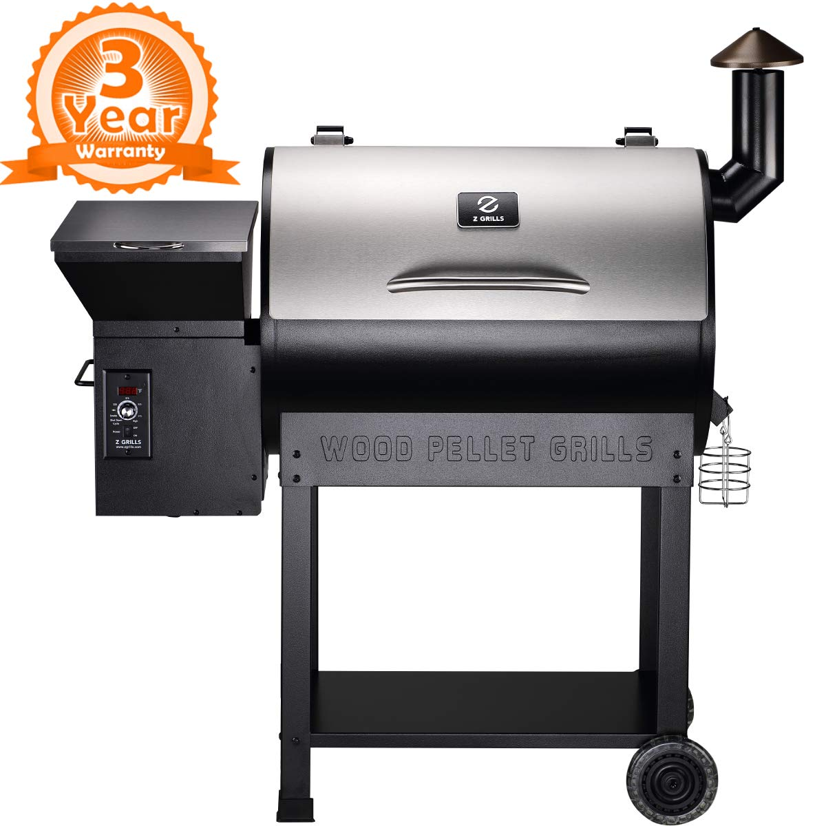 Z GRILLS ZPG-7002ENC 2019 New Model Wood Pellet Grill & Smoker, 8 in 1 BBQ Grill Auto Temperature Control, 700 sq inch Cooking Area, Silver NO Cover by Z GRILLS