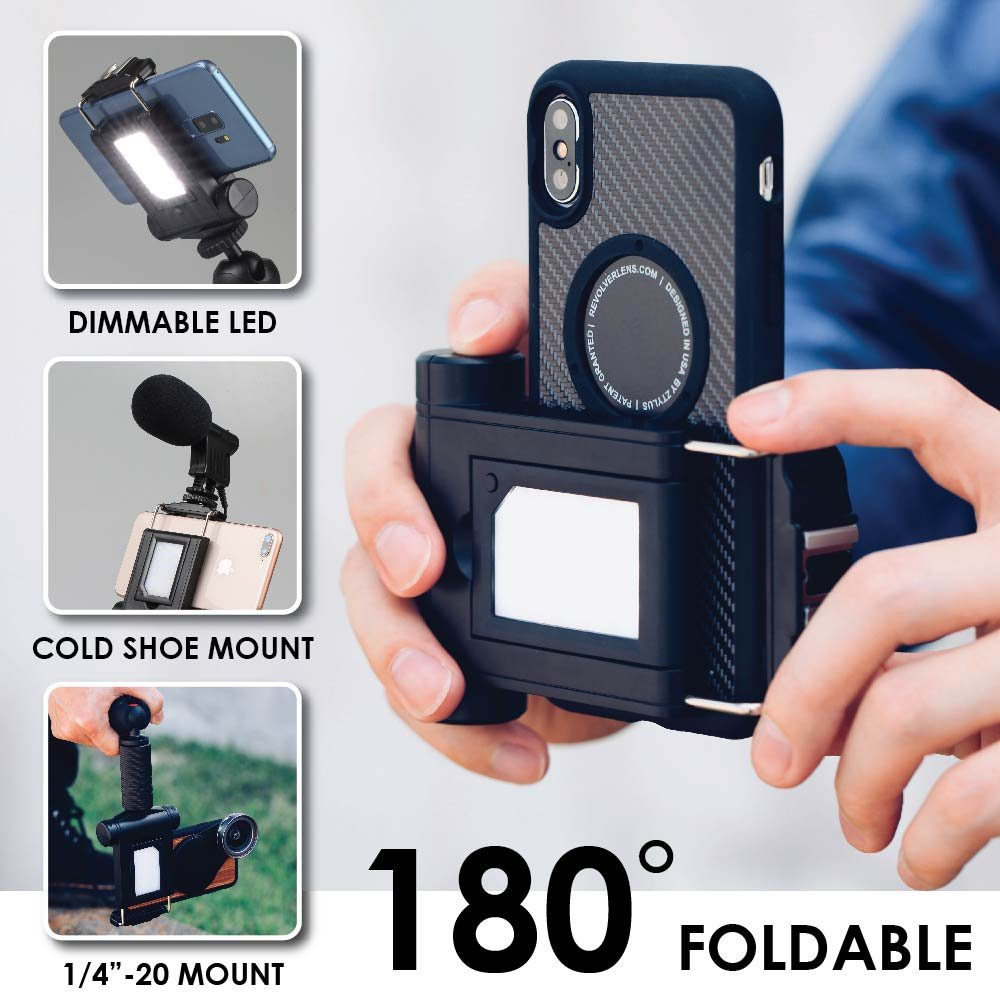 "Dimmable 5600K Mini Multi-Angle LED Light:Compatible with Tripod, 180° Fordable Selfie Mode, Cold Shoe, ¼""-20 Female Screw Mount, Universal Smartphone Holder iPhone, Samsung Galaxy, Google Pixel, Sony"
