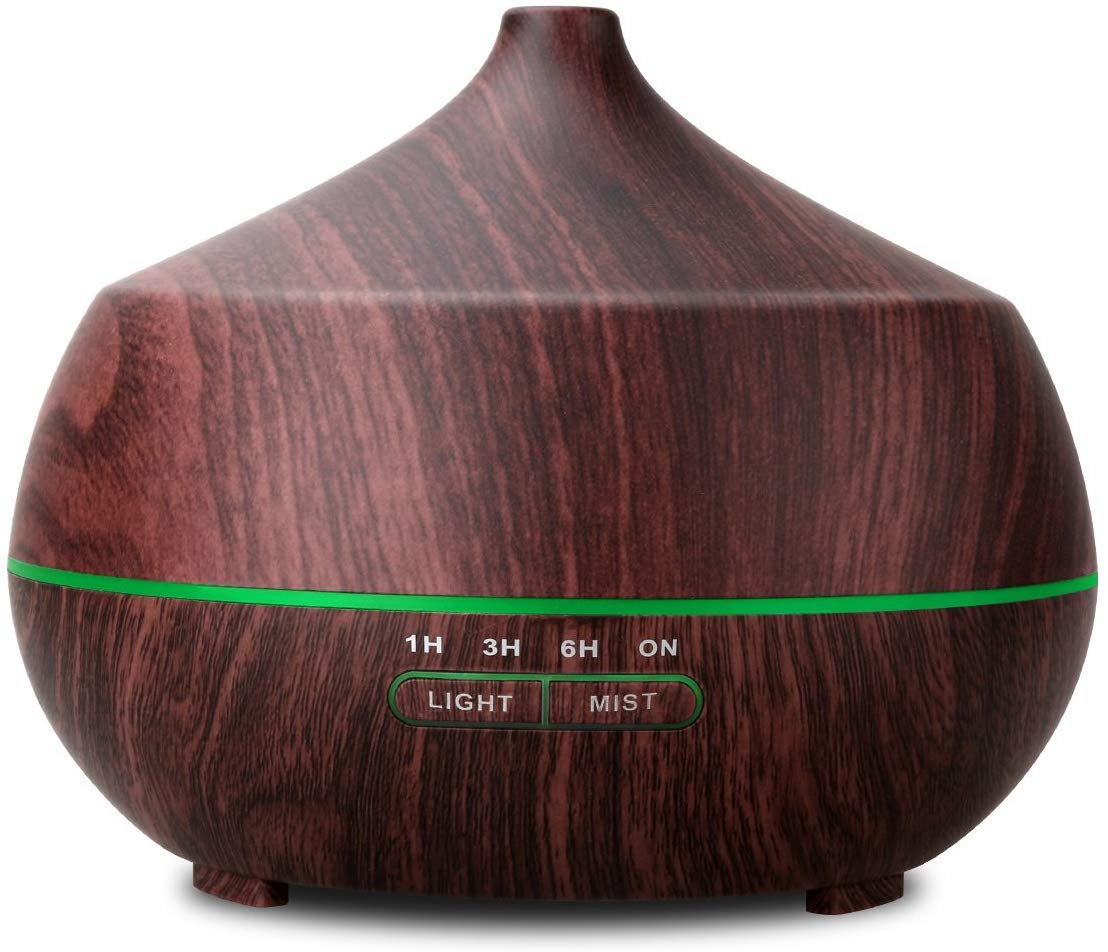 TENSWALL 400ml Essential Oil Diffusers Ultrasonic Humidifier Portable Aromatherapy Oil Diffuser with Cool Mist and 7 Colour Changing LED Lights Aroma Diffuser, Waterless Auto Off Air Purifiers-Brown