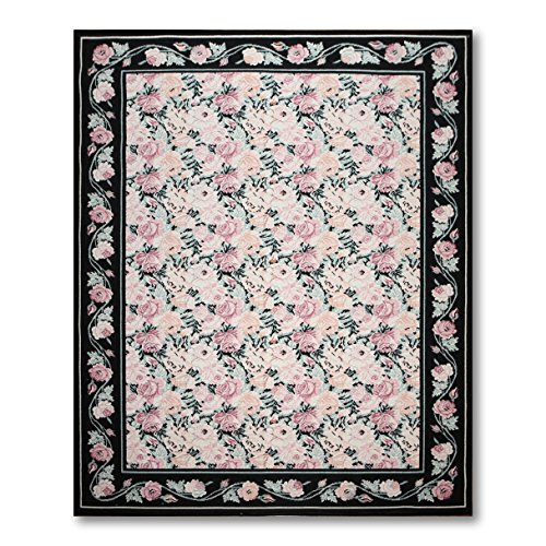 8'x11' Mcarthy Ivory, Rose, Black, Green, Multi Couristan America Made Oriental Wool Oriental Area Rug