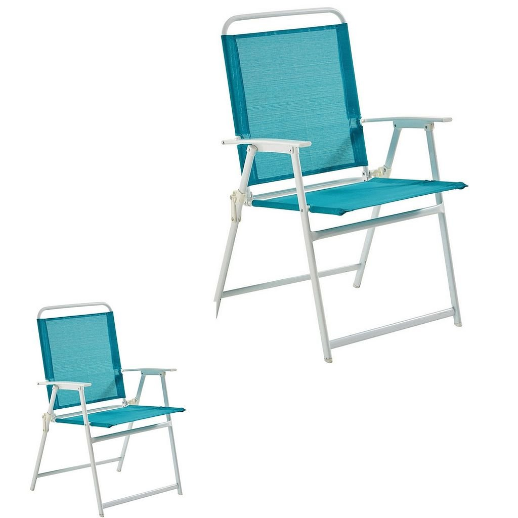 2-Pieces Teal Rust-Resistant Powder-Coated Steel Pleasant Grove Sling Folding Chair, Dimensions 23Wx25Dx36H