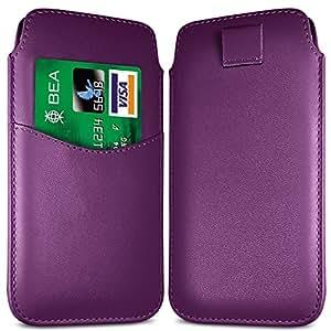 Online-Gadgets UK - Samsung Galaxy Ace 4 Premium Caso ficha de extracción ranura de la tarjeta de la PU del tirón del cuero Case - Purple