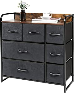 Kamiler 7-Drawer Dresser, 3-Tier Storage Organizer, Tower Unit for Bedroom/Hallway/Entryway/Closets - Sturdy Steel Frame, Wooden Top, Removable Fabric Bin (Rustic Brown)